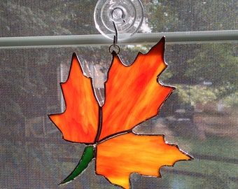 Fall Leaf Stained Glass Suncatcher - Autumn Suncatcher - Fall Decor - Autumn Decor - Thanksgiving Decor - Orange Glass - Maple Leaf