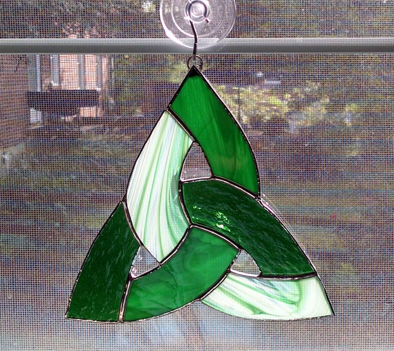 Celtic Knot Stained Glass Suncatcher Irish Decor Trinity