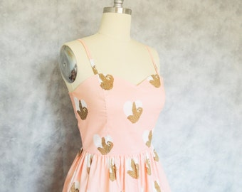 Sloth Love Dress - Heart Quirky Whimsical Pink Sweetheart Summer Dress