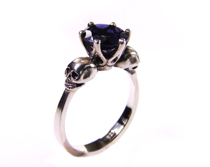 Skull Engagement Ring, Valentines Gift Size 6 READY TO SHIP Sapphire Blue Tanzanite Iolithe Sterling Goth Ring Blue Memento Mori Womens Ring