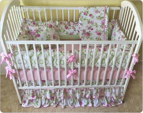 Pink Amp Green Floral Roses Vines Baby Nursery Crib Bedding Set