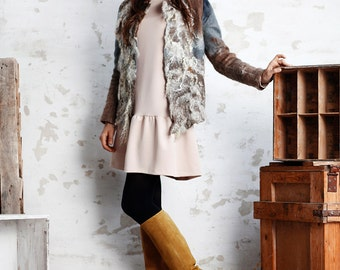 Felted jacket - woolen jacket - merino wool - felt - handmade - unique - felted clothes - fashion designer - autumn - fall - brown and beige