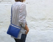 Leather crossbody bag, small blue cross body purse, small bag, zipper purse, FREE SHIPPING