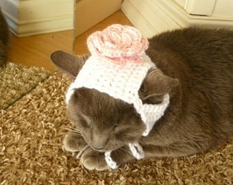 Flower Cat Costume Rose Cat Hat for Cat Costume for Cat Pretty Girly Girl Pet Clothes Fancy Pet Costume Cat Wig Cosplay Photo Prop Crochet