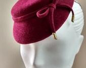 Womens Wine Velour Cocktail Hat Mini Cap
