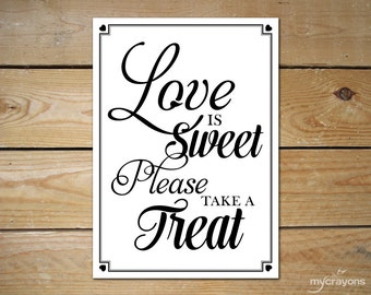Instant Download Printable Love is Sweet Sign // DIY Wedding Sign, Printable Wedding Favor Sign // Love is Sweet Candy Bar Sign 8x10, 5x7