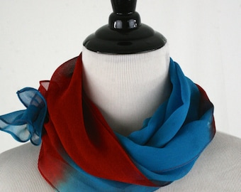 Vintage Chiffon Blue Red Dip Dyed Oblong Scarf