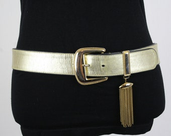1980s Escada Gold Leather Belt with Chain Tassel Made in Germany Designer Belt