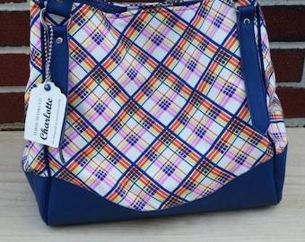 Charlotte Expandable Tote Bag Plaid Blue Orange Vegan Leather