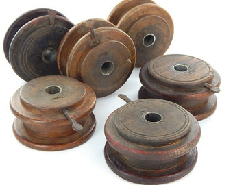 """Vintage Round Wooden Twine Spool 4.5"""" - Purchase individually or as a set."""