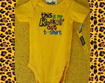 This is my Rockin' out T shirt, baby one piece, bodysuit, crawler, newborn, gift, baby shower