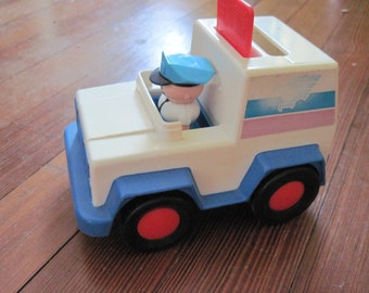 Vintage 1992 TONKA toy postman mailman and truck with letter slot