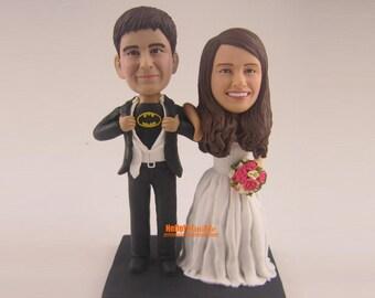 Batman cake topper Wedding Cake Topper Bobblehead Custom cake topper Wedding topper bobble head Cake toppers -CT E302