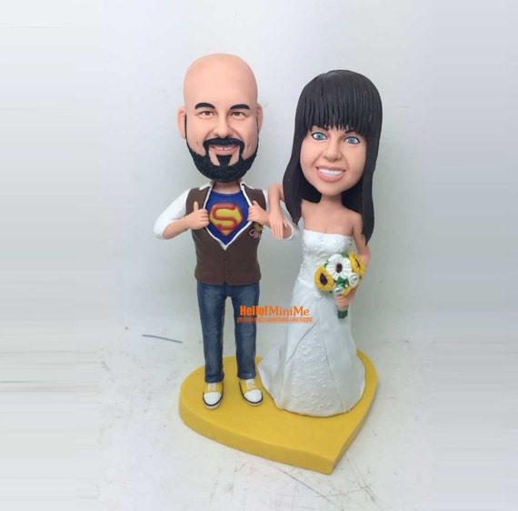 bobblehead wedding cake toppers personalized custom cake topper wedding cake topper bobblehead custom 12068