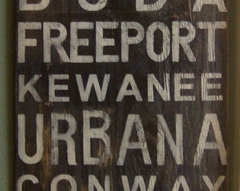 Distressed subway sign customized to any cities you choose