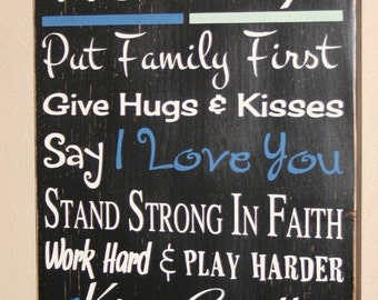 Police Officer House Rules, LEO Sign, Teacher Sign, Custom Wood Sign, Police Officer - In This Police Officer/Teacher Home - Thin Blue Line