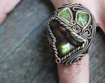 FREE SHIPPING Mexican Fire Agate and Peridot Adjustable Ring