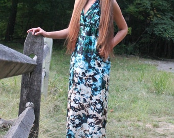 Green Silk Halter Dress