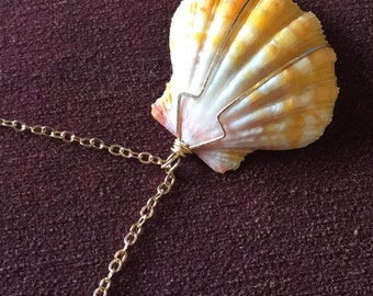 "Hawaiian Sunrise Shell, Pink Coral & Pyrite 14kt Gold-filled 24"" long Handmade Necklace, One of a Kind"