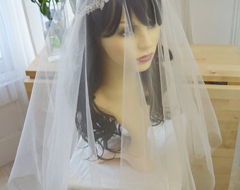 Couture bridal cap veil, 1920s style wedding veil, veil with blusher, Lillian