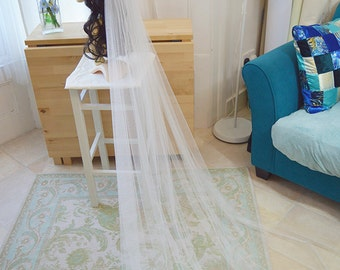 Couture bridal veil, wedding veil in soft tulle - Edith