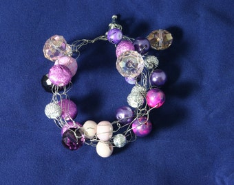 Pink and Purple Crocheted Bracelet