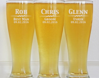 Groomsmen Gift, 3 Personalized Beer Glasses, Custom Engraved Pilsner Glass, 16oz Glasses, Wedding Party Gifts, Gifts for Groomsmen