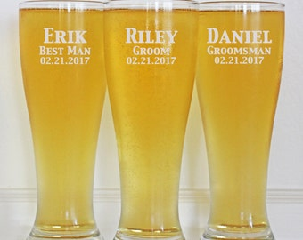 Personalized Groomsmen Gifts, Beer Glasses, Wedding Toasting Glasses, Pint Glasses, 11 Custom Beer Mugs, Gifts for Groomsmen, 16oz Glasses
