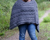 Fuller Woman Chunky Knit  Poncho in School Grey/Knitted Poncho/Women Poncho