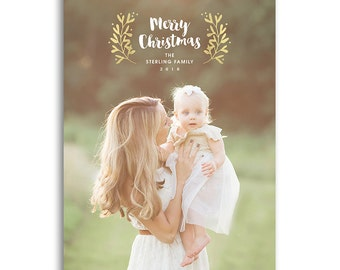 Holiday Photo Card Template - 5x7 Flat Card - TIDINGS - 1482