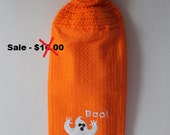 Halloween-Kitchen Hanging Towel-Crochet Towel Topper-Boo Ghost -Orange Halloween-Handmade-Crochet-Reduced-Clearance - Ready to Ship