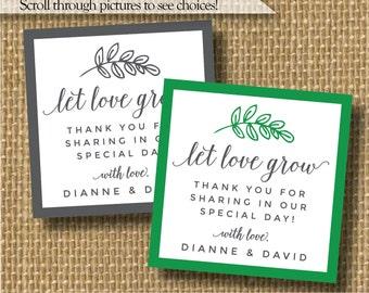Seeds wedding favor, sapling wedding favor, green wedding favors, green favor stickers, succulent wedding favors, let love grow, plant favor