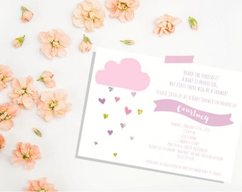 Cloud Baby Shower Invite. Pink Gold Baby Shower Invitation. Baby Shower Invitation. Shower Invitation. GIRL. Girl Baby Shower Invitation.