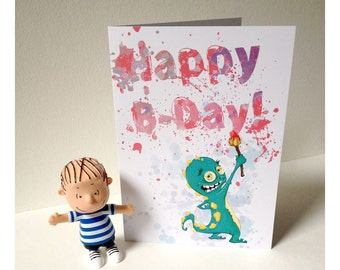 Creepy creature Happy Birthday Card