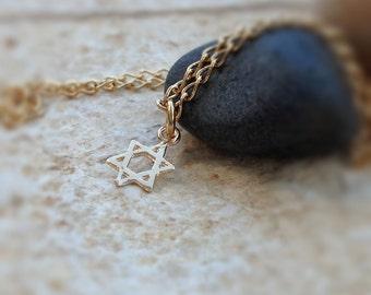 Star Of David Necklace - Star Of David Charm - Gold Charm Pendant - Star of David Jewelry - Minimalist Necklace - Star Pendant -630