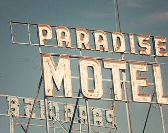 Route 66 Photography, New Mexico Photography, Paradise Motel, Route 66, Print, Neon, Tucumcari, Travel Photography, Art, Print, Large Wall