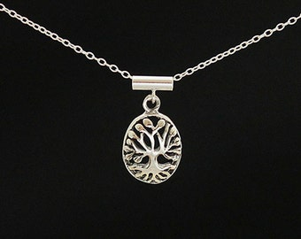Tree of Life Domed Sterling Silver Necklace
