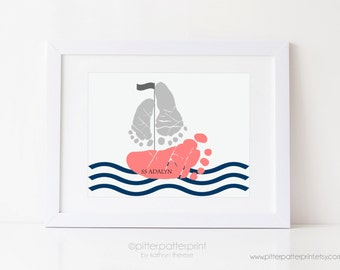Navy Coral Nautical Girls Nursery Art, Sailboat Baby Footprint Wall Print, Personalized with Your Child's Feet, 5x7, 8x10 or 11x14 UNFRAMED