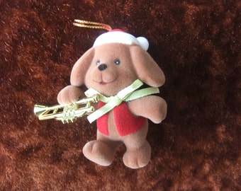 Sale! Vintage Avon Merry Marchers Christmas Ornament Puppy with Trumpet in Box