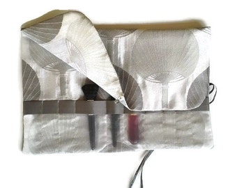 Makeup Brush Roll Silver Grey Cosmetic Bag Roll up