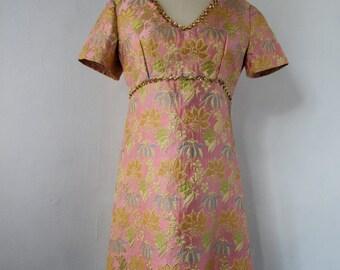 1960s pink floral brocade dress | vintage 60s pink floral dress | small - medium | The Delilah Dress