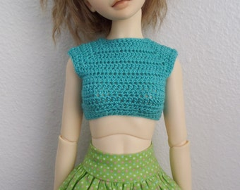 Crochet Crop Top for MSD ball jointed dolls In Sea Glass