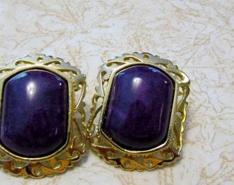 Earrings, Purple & Gold Large Earrings, Pierced, Statement Piece, Edwardian, Art Deco, Boho, Steampunk - BreezyTownship  er022