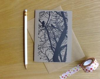Birds in tree gocco print greetings card - anniversary birthday -  black on brown