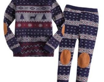 kids Nordic Pattern pajamas - Navy / Christmas PJs / Pajamas for kids / toddler size 12M-2T