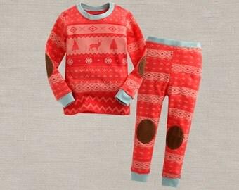 kids Nordic Pattern pajamas - Orange / Christmas PJs / Christmas Pajamas for kids / toddler size 6-8Years