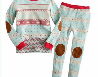 kids Nordic Pattern pajamas - Mint /  PJs /  Pajamas for kids / toddler size 12M-8