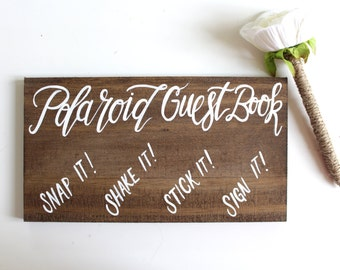 Polaroid Guest Book Wedding Sign, Rustic Wooden Wedding Signs, Alternative Guest Books, The Paper Walrus