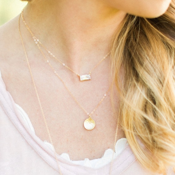 Delicate Gold Layer Necklace, Gold Multi Strand Necklace, Dainty Gold Necklace, Emerald Cut Pendant, Hammered Gold Coin Pendant
