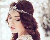 Black Diamond Godess Diadem, Crystal Headchain, Headband, Bohemian Hairband
